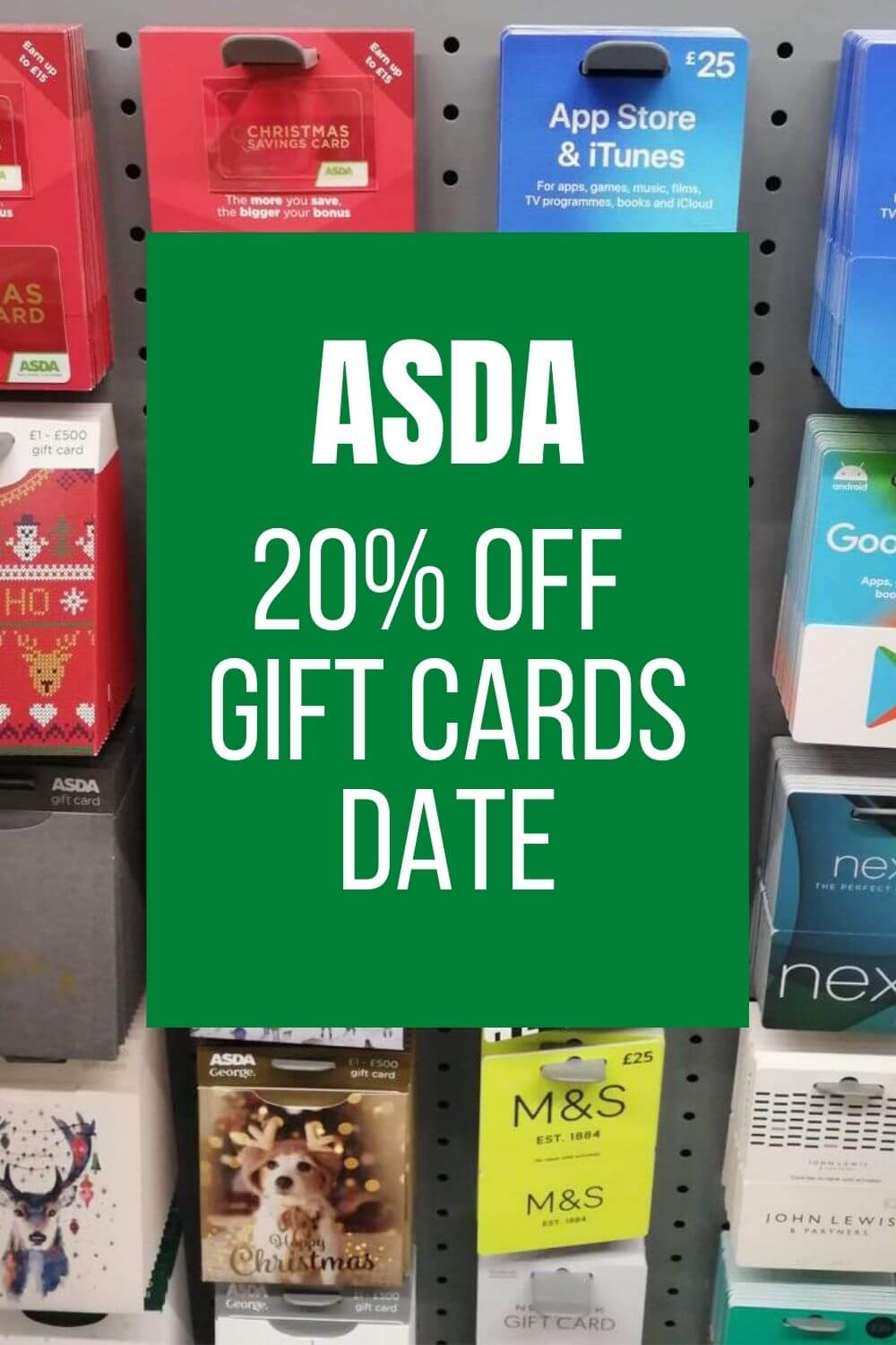 20 off gift cards asda