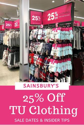 Sainsburys 25 off TU Clothing dates