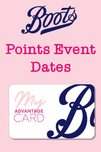 Boots Points Event 2021 - Next Advantage Card Boost Dates