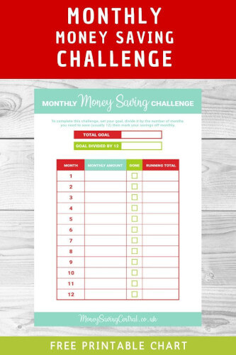 Monthly Money Saving Challenge with FREE Printable