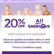 20% off Sitewide @ Babies R US