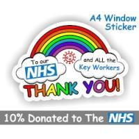 Thank You NHS & Key Workers Rainbow A4 Sticker £3 @ Amazon