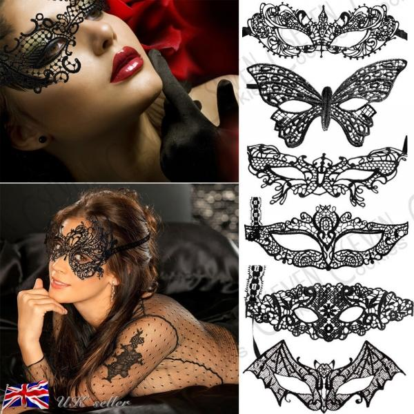 Black, Lace Venetian Masquerade Eye Mask 99p delivered